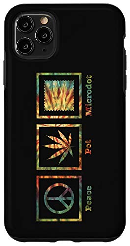 iPhone 11 Pro Max Peace Pot Microdot Hippie Stoner Tie Dye Funny Graphic Case