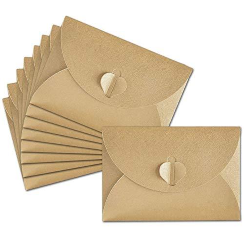 NIU MANG 100 sobres de papel Kraft mini con cierre de corazón para tarjetas de Navidad, manualidades, 10,5 x 7,2 cm