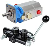 RuggedMade 16 GPM 2 Stage Hydraulic Pump, 25 GPM Auto Return Directional Control Detent Valve 1/2' Work Ports