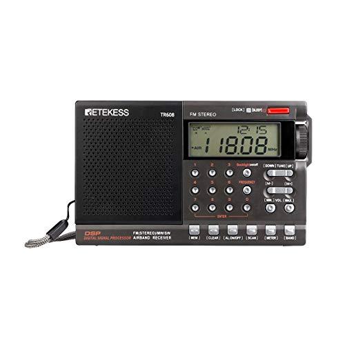 Retekess TR608 Draagbare Digitale Radio Stereo FM MW SW Air Band Radio Wereldontvanger Radio met Wekker Klok Slaaptimer
