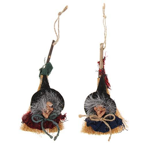 2X Holz Hexe Hängend Deko Figuren Halloween Dekoration für Tür Wand Fenster Baum und Garten