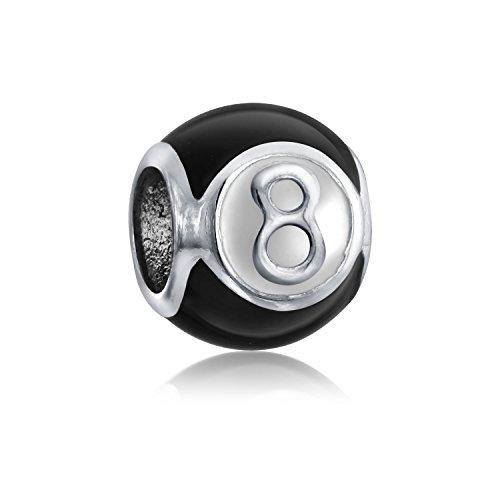 Bling Jewelry Suerte Número Mágico 8 Billar Albalorio para Mujer para Adolescente 925 Plata De Ley 925 Encaja Pulsera Europea