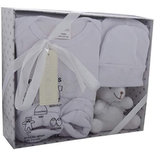 Baby Geschenkset – 5 Stück, 100% Baumwolle, Maschinenwaschbar, Strampler, Schühchen, Mütze, Babyspielzeug, Mädchen, Jungen - Weiß, 0-3 Monate