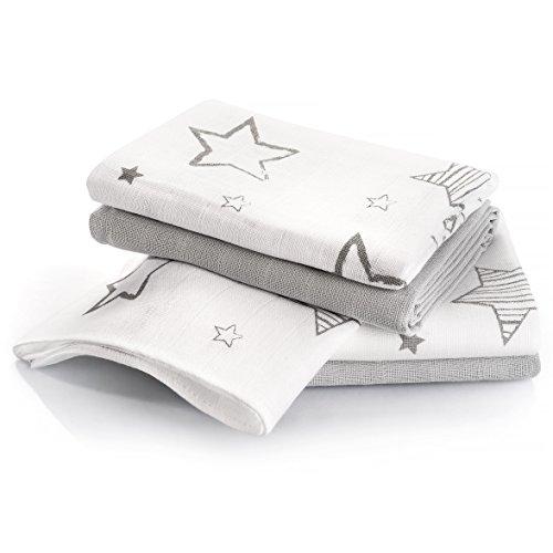 Muselina bebé algodón - 4 Ud., 70x70 cm, estampado estrellas, Tejido doble con bordes reforzados, lavable a 60°, certificado OEKO-TEX - Paños de gasa color gris - blanco