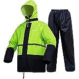 Rain Suits (Jacket + Pants), Rain Gear Workwear Lightweight Waterproof Protective Raincoats Fits Men Women(Fluorescent,XXX-Large)