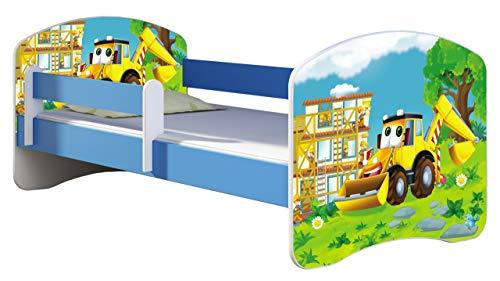 ACMA Kinderbett Jugendbett mit Einer Schublade und Matratze Blau mit Rausfallschutz Lattenrost II 140x70 160x80 180x80 (20 Bagger, 160x80)