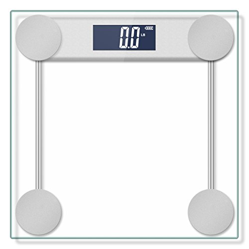 400lb / 180kg Digital Body Weight Bathroom Scale with StepOn Technology and Tempered Right Angle Glass Balance Platform