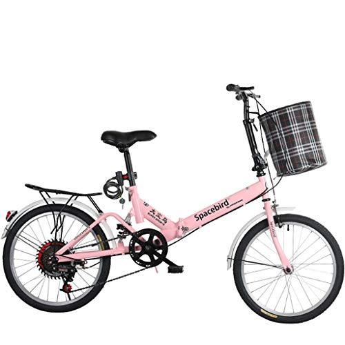 Hmvlw Bicicletas de montaña Variable Bicicleta Plegable de Velocidad Hombre Mujer señora Adulta Ciudad del Viajero al Aire Libre Deporte de la Bici con Cesta (Color : Pink)