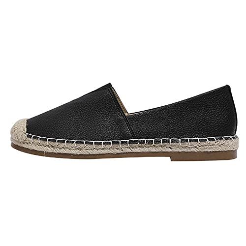 Alpargatas Planas Mujer Color Sólido, Surwin Respirable Clásico Lona Plano Ocasionales Loafer Zapatos, Primavera Verano Alpargatas Adulto Mocasines Zapatos (39,Negro)