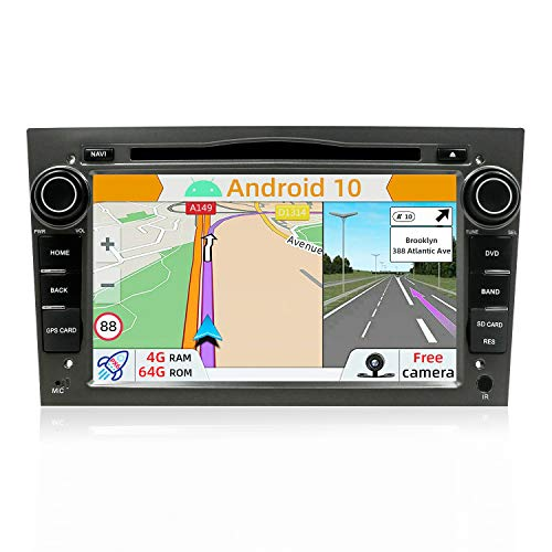 YUNTX PX6 Android 10 Autoradio Compatible Avec Opel Meriva/Vivaro/Astra/Corsa - 4G+64G - GPS 2 Din Caméra arrière et Map GRATUITES - Soutien Dab/DVD/Commande au Volant / 4G / WiFi/Bluetooth 5.0