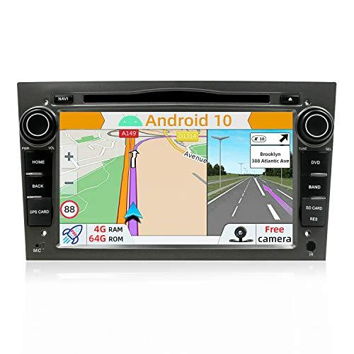 YUNTX PX6 Android 10 Autoradio Compatibile con Opel Astra/Meriva/Corsa/Zafira- 4G+64G - GPS 2 Din - Telecamera Posteriore Gratuiti - Supporto DAB/DVD / 4G / WiFi/Bluetooth 5.0 /Mirrorlink/Carplay