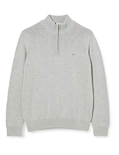 GANT Jungen Casual Cotton Half Zip Pullover, Light Grey Melange, 176