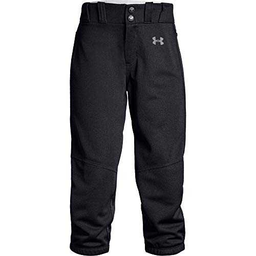 Under Armour Girls' Softball Pants, Black (001)/Baseball Gray, Youth X-Large