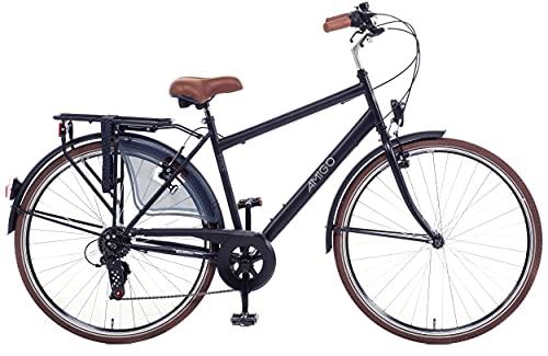 Amigo Style - Cityräder für Herren - Herrenfahrrad 28 Zoll - Geeignet ab 180-185 cm - Shimano 6 Gang-Schaltung - Citybike mit Handbremse, Beleuchtung und fahrradständer - Schwarz