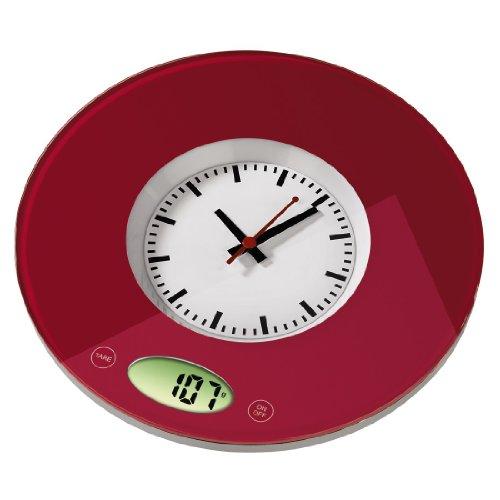 """Xavax digitale Küchenwaage \""""Pauline\"""" mit Uhr als Wiegefläche, geeignet zur Wandbefestigung, rot"""