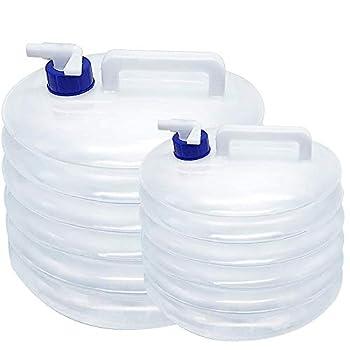 tingz 2 pièces 10L+5L Réservoir d'eau Pliable, conteneur d'eau Pliable Portable avec Robinet, PE de qualité Alimentaire Seau Pliable Bouteille Transporteur récipient d'eau Stockage Seau,Transparent
