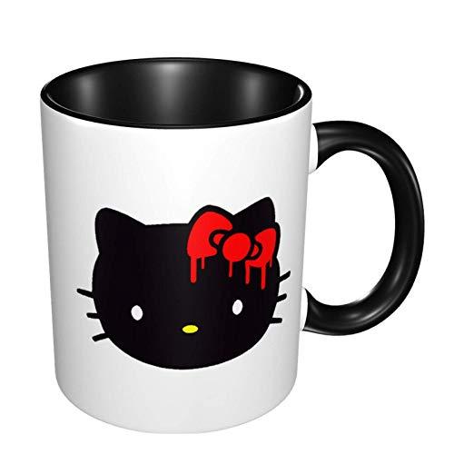 Hello Kitty - Tazza da caffè grande, in ceramica, per caffè, tè, cacao e bevande brullate, colore: nero