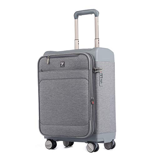 UNITRAVEL Suitcase Lightweight Expandable 52 Centimeters 37 Liters 4 Wheels Gray TSA Lock