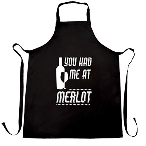 Novelty Drinking Chef's Apron You Had Me At Merlot Slogan Black One Size