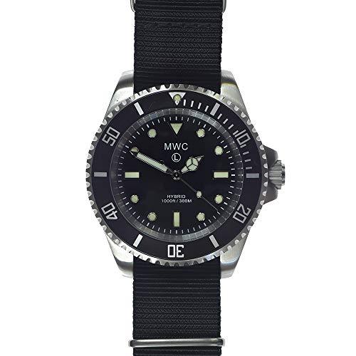 MWC Diver Hybrid Movimiento 300m Acero NATO Negro Militar Reloj de Hombre