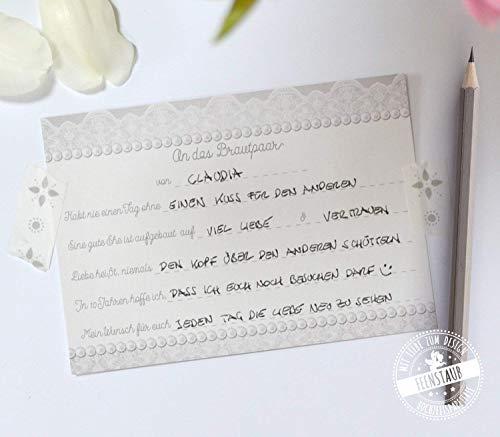 Gästebuch Hochzeit, 30 Karten Hochzeit mit vorgedruckten Fragen zum ausfüllen & einkleben