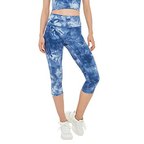 WENY Mujeres Pantalones De Yoga De Cintura Alta 3/4 De Longitud Recortada Medias Tie Dye Tramo Leggings Deportivos Deportivos,Azul,S