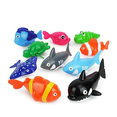 Boley Wind Up Sea Animal Bathtub Toys - 10 Pack Small Kids Bath Toys for Toddlers Ages 3 and Up