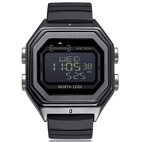 WWJJLL Reloj Deportivo para Hombre, 50M Reloj Digital De Metal Resistente Al Agua Brújula 12/24 Horas Reloj Multifunción En Horario Mundial Cumpleaños Navidad Regalo De Acción De Gracias