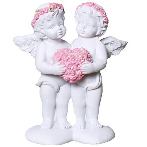 Trauer-Shop Kleine Engel Paar Figuren mit Blumenkranz und Herz aus Rosen. Höhe 9,5 cm.