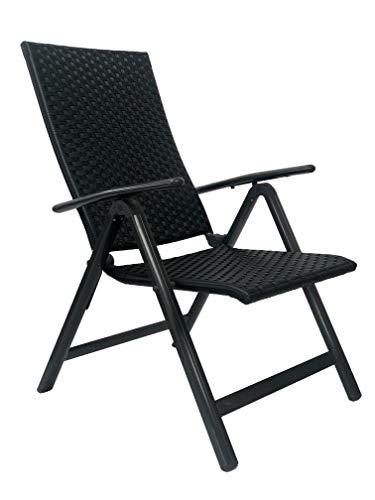 Palma - Juego de 2 sillas de jardín plegables, color negro