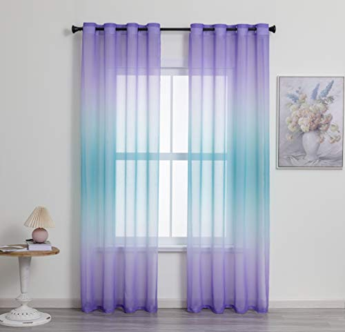 Liteluxe Ombre Semi Sheer Curtain Purple-Blue Gradient Curtains for Kids and Girls Bedroom and Living Room Curtains, Grommet Top Window Curtain 2 Panels, 54 x 84 Inches Long