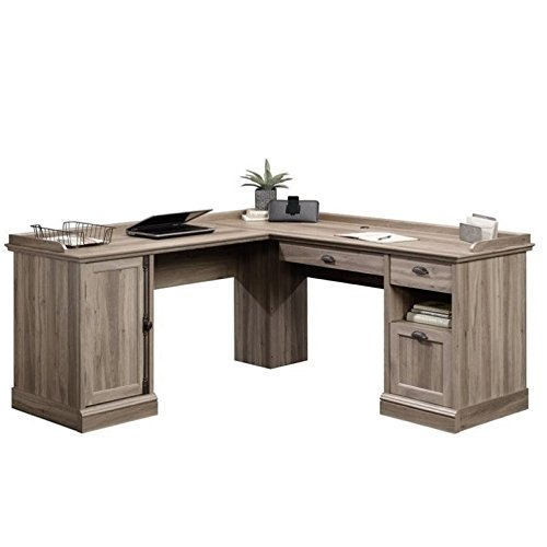 Pemberly Row Home Office L Shaped Corner Desk with Computer Tower Storage Salt Oak Finish