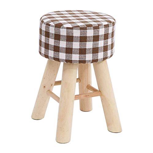 JIAXU Taburete con pedal de ocio, taburete tapizado otomano redondo, puffes de color marrón a rayas modernas y sencillas, 4 patas de madera, funda de lino extraíble