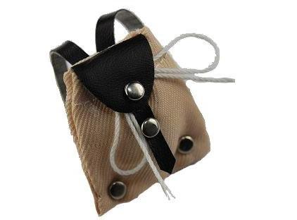 alles-meine.de GmbH Rucksack / Tasche - beige - Miniatur für Puppenstube Puppenhaus - Maßstab 1:12 - Wanderrucksack / Wandern - Wanderurlaub Deko - Puppenstubenzubehör - Zubehör