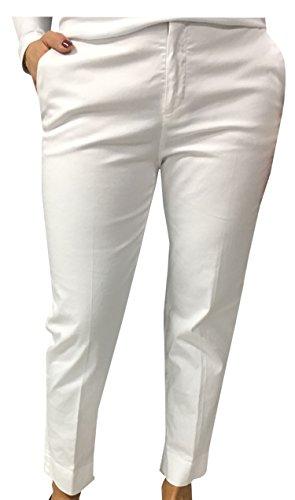 ASPESI Pantalone Donna Bianco MOD H106 98% Cotone 2% Elastan Lunghezza Caviglia (40)