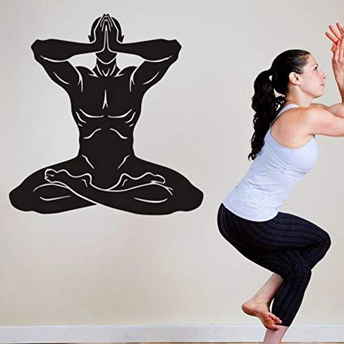 yaonuli Yoga Club Wandtattoo Lotus Fitness Vinyl Wandtattoo Home Decoration Wandbild 85X52cm