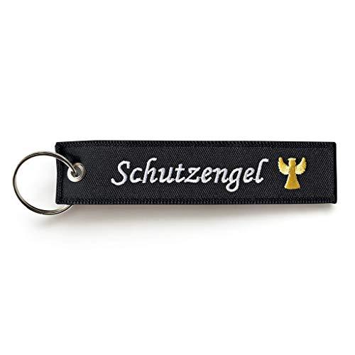 RENEGADE Motorrad Schlüsselanhänger aus Stoff mit Schlüsselring Bestickt & Kratzfest (130 x 30 mm, schwarz). Ideal für Ihr Motorrad (Schutzengel)