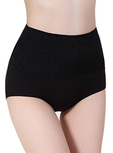 Qingsun Qinlee sous-vêtements Femme Culottes Coton Confortable Taille Haute-Noir
