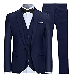 Mens smart 3 piece lounge suit: jacket, waistcoat and trousers. Shirt, bow tie and others are not included Suit jacket: one button fastening, single breasted, front and inner pockets, single vent Suit trousers: button and zip fastening, four pockets ...