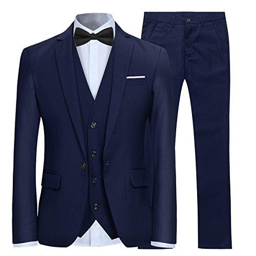 Anzug Herren Slim Fit 3 Teilig Anzüge Modern Herrenanzug 3-Teilig Sakko Hose Weste für Business Hochzeit Marineblau Medium