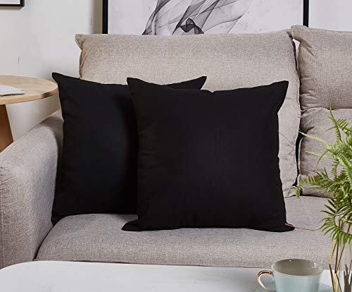 TangDepot Handmade Decorative Solid 100% Cotton Canvas Throw Pillow Covers/Pillow Shams, (28x28, Black)