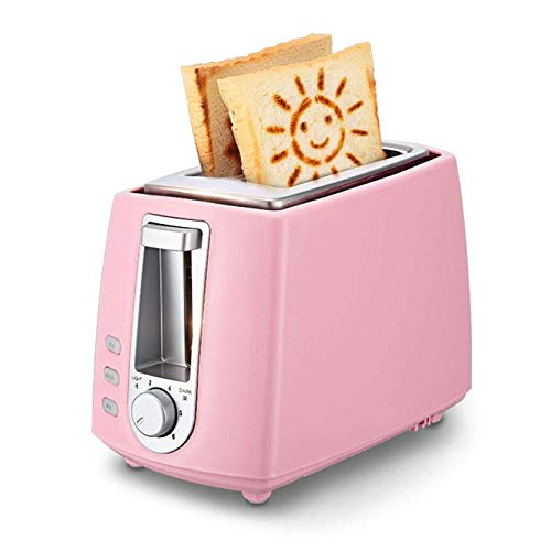 Qdesign Hogar Tostadora multifunción de Acero Inoxidable automático de 6 Modos de Control de Tostado Desayuno Máquinas Herramientas de Cocina, 680W, Rosa