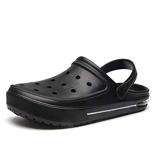 エアソール メッシュ サボサンダル メンズ ストラップ スリッポン 靴 44(27.0cm) ブラック