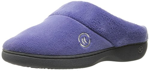 isotoner womens Terry in Clog, Memory Foam, Comfort and Arch Support, Indoor/Outdoor Slip on Slipper, Dark Periwinkle, 8.5-9 US
