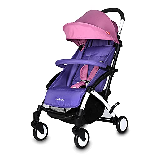 Infababy® Ezeego Stroller Next Generation/Stylish Design/New Born to 3 Years Toddler/Comfortable 5 Backrest Positions/Free Raincover & Carry Bag/Suitable for Travelling - Lavender
