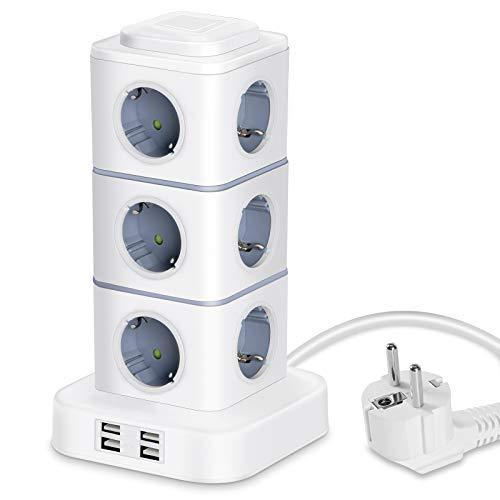 LITSPOT Enchufes Multiples, Regleta Vertical Enchufes de 12 Tomas Corrientes (2500W / 10A) y 4 Rápida USB Tomas, Torre Enchufes con luz Nocturna Regulable y Protección contra Sobrecargas, Cable de 3M