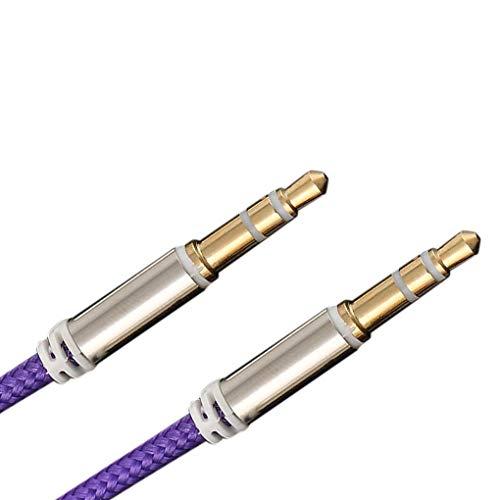 Mingtongli 1m de Nylon Cable de Audio Jack de 3,5 mm a 3,5 mm Aux Wire Line Macho a Macho de Coches para Auriculares Altavoz Cable Aux