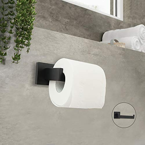 Bathroom Toilet Paper Holder, Matte Black Wall Mount Stainless Steel Rustproof Toilet Paper Dispenser , Toilet Paper Roll Holder For Bathroom Hardware