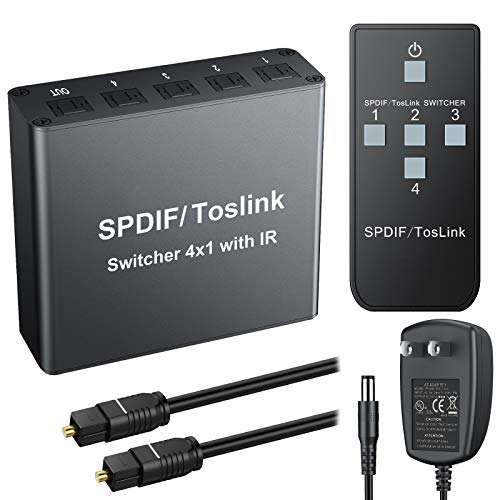 eSynic 4x1 Toslink Switch Digital Optical SPDIF Audio Switcher Box with IR Remote Control Aluminum Alloy Material Supports PCM2.0 DTS Dolby-AC3 - with 6.6ft Optical Cable