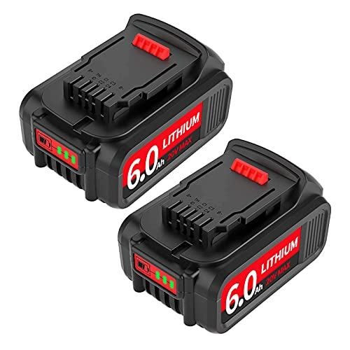 6.0Ah DCB206 DCB205 DCB204 Replacement Battery Compatible with Dewalt 20V Max XR Tools DCB205-2 DCB200-2 DCB200 DCB180 DCD/DCF/DCG Series 2 Pack